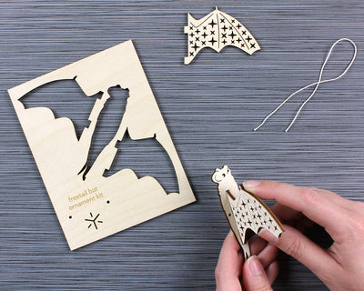 Unpackaged bat ornament kit