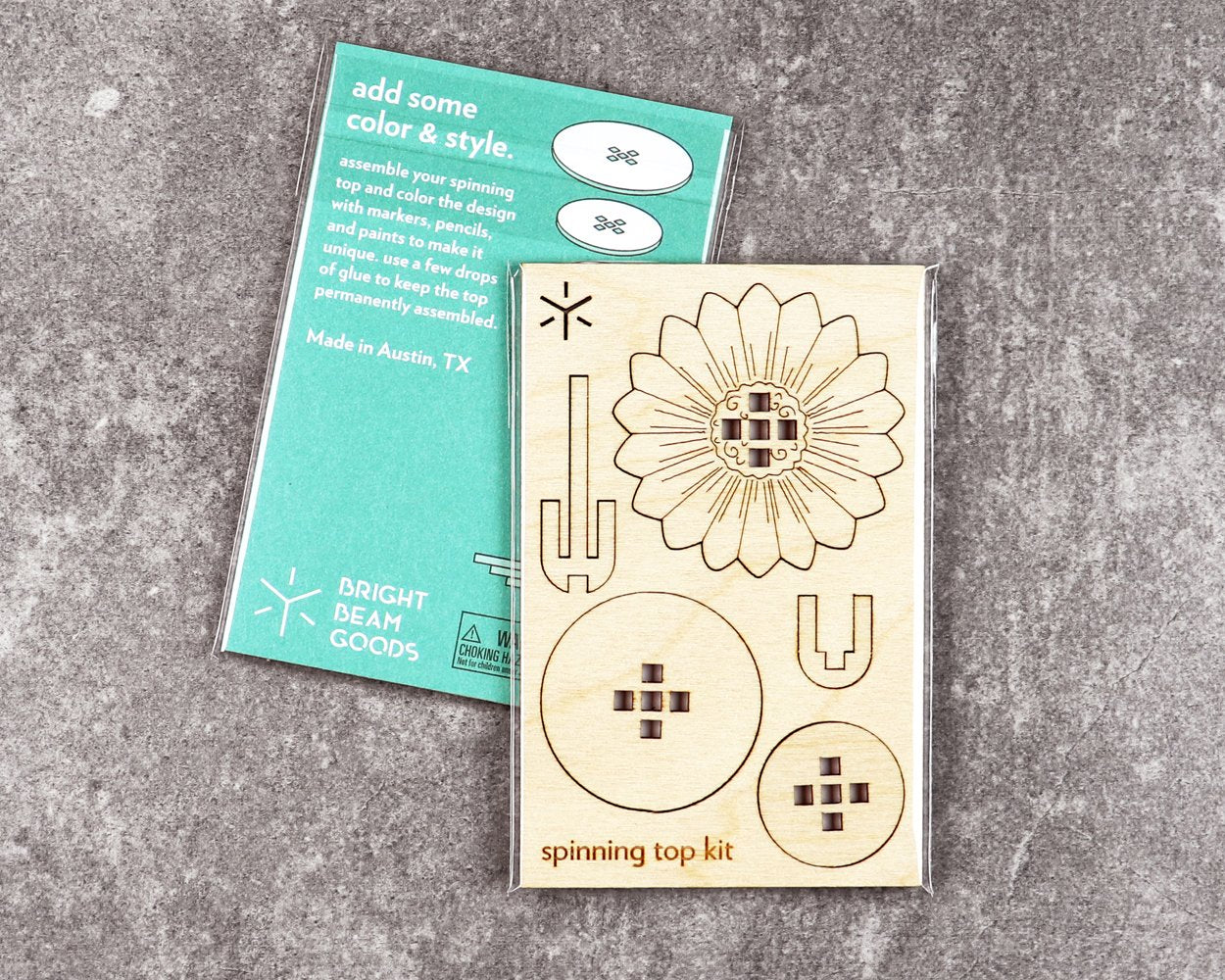 Daisy spinning top kit in packaging