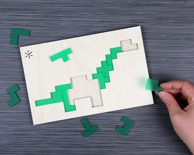 Apatosaurus pentomino puzzle in packaging