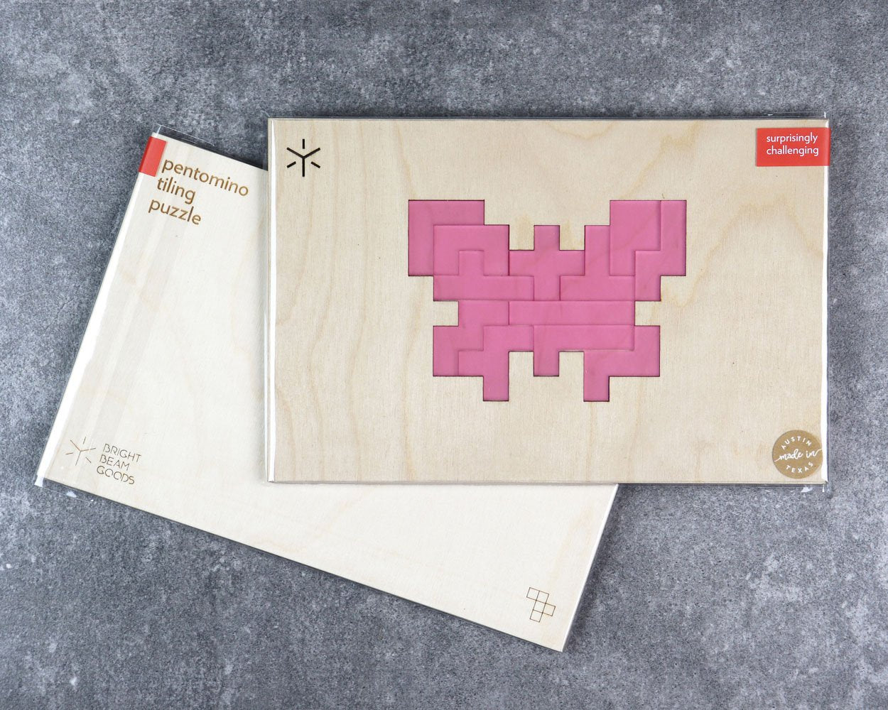 Butterfly pentomino puzzle in packaging