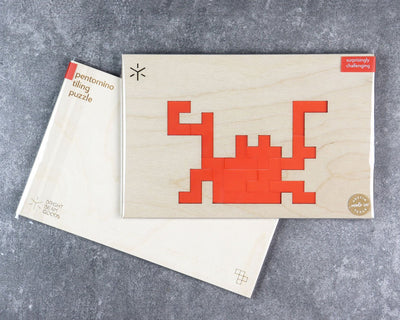 Crab pentomino puzzle in packaging