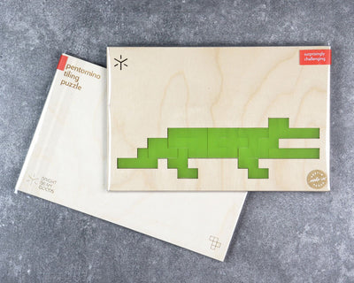 Crocodile pentomino puzzle in packaging