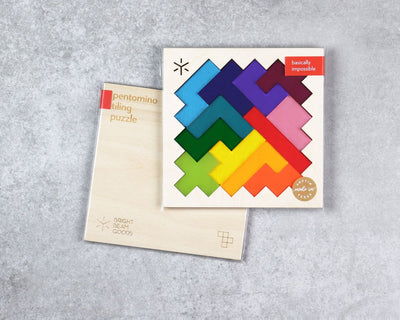 Rainbow square pentomino puzzle in packaging