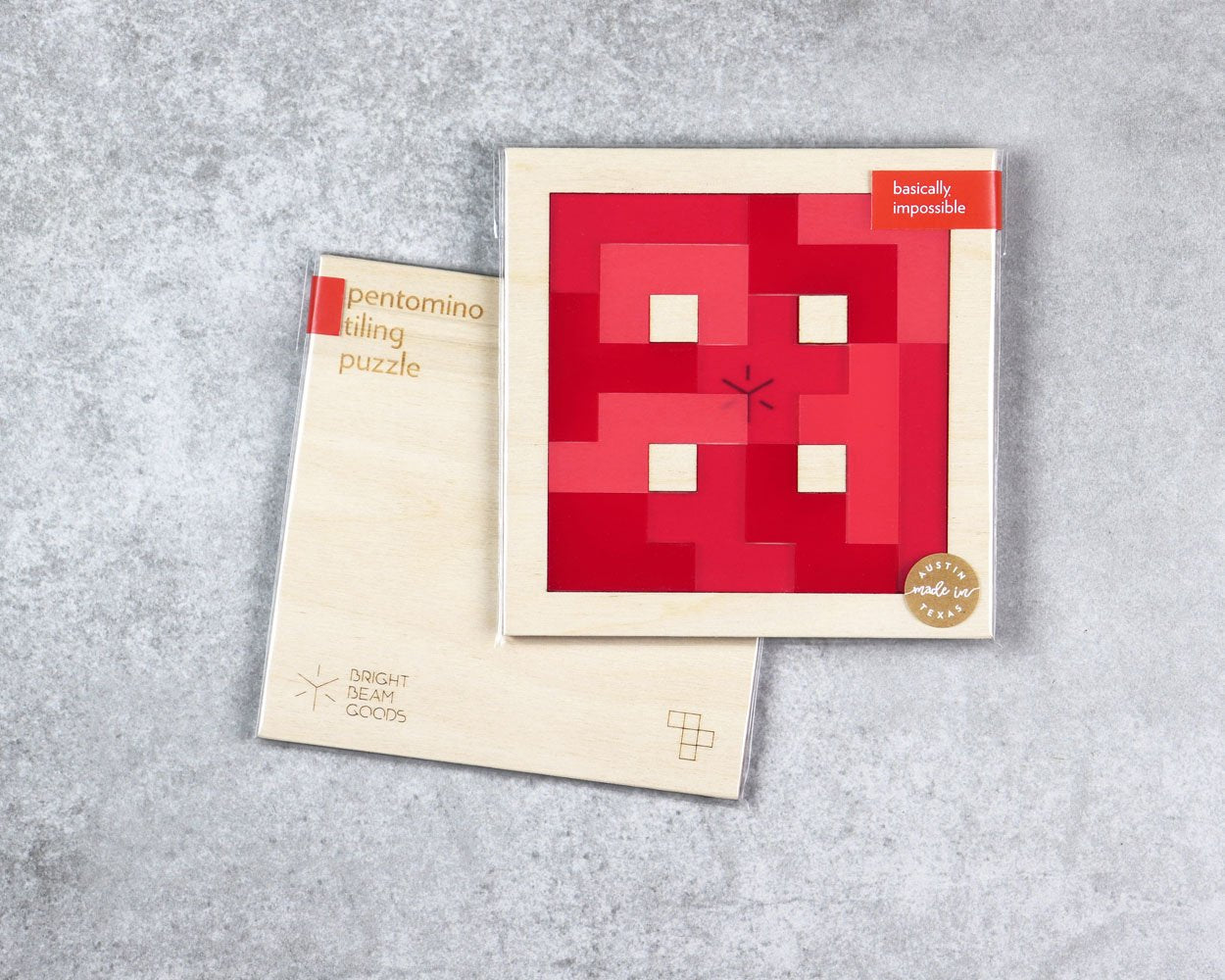 Strawberry square pentomino puzzle in packaging