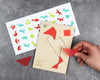 Unpackaged flamingo tangram puzzle