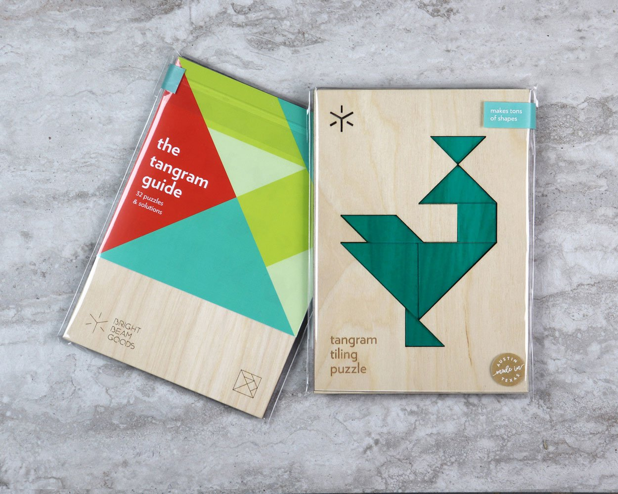 Peacock tangram puzzle in packaging