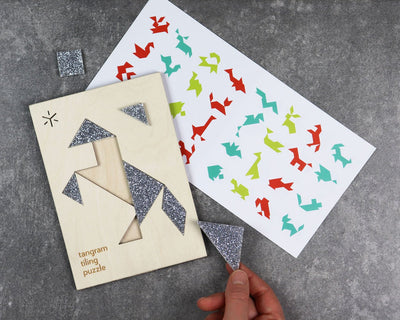 Unpackaged stallion tangram puzzle