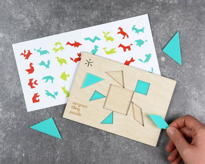 Unpackaged sea turtle tangram puzzle