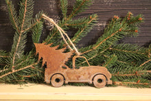 Load image into Gallery viewer, Rusty Vintage Truck with Tree Ornament | Metal Christmas Ornament - CHO1002