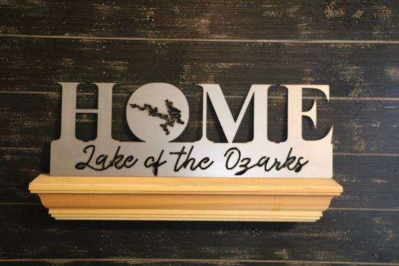HOME with Lake Cutout and Name | Metal Lakehouse Sign - LK1004