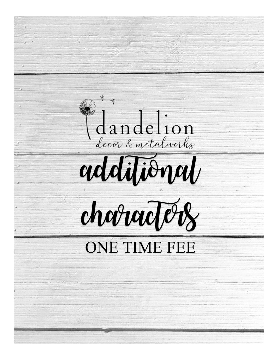 Additional Characters | One-Time Fee | Digital Product