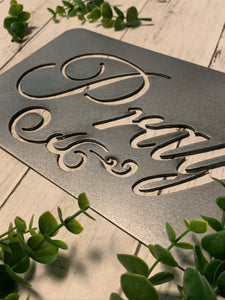 Pray with Filagree Accent | Metal Cutout Sign - SP1006