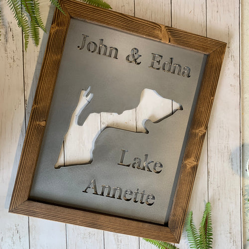 Rustic Framed Lake Map of Your Choice | Custom Metal Cutout Sign | LK1006