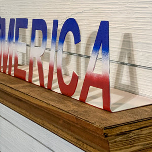 'Merica Red White Blue Metal Shelf Sitter | HOD1031