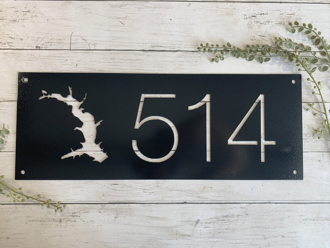 Lakehouse Metal Address Sign | Metal Numbers Cutout | HOD1031