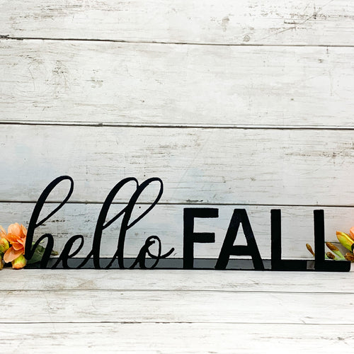 Hello Fall Black Shelf Sitter | Metal Cutout Sign - FA1006