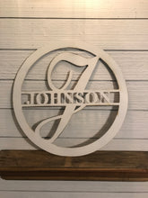 Load image into Gallery viewer, Custom Monogram Circle with Last Name | Metal Letter Cutout with Name - CUST1002