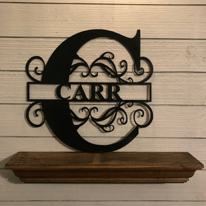 Monogram with Filagree and Name | Metal Letter Cutout with Name - CUST1003