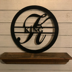 Custom Monogram Circle with Last Name | Metal Letter Cutout with Name - CUST1002