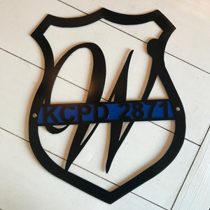 Badge with Thin Blue Line and Badge Number | Metal Cutout Police Sign - HOD1024