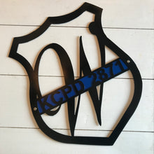 Load image into Gallery viewer, Badge with Thin Blue Line and Badge Number | Metal Cutout Police Sign - HOD1024
