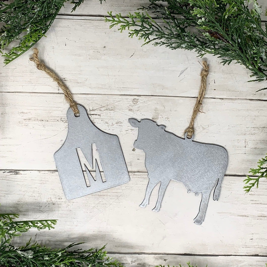 Cow and Ear Tag Metal Ornament Set | CHO1018 | Farm Metal Ornament