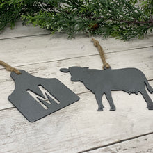 Load image into Gallery viewer, Cow and Ear Tag Metal Ornament Set | CHO1018 | Farm Metal Ornament