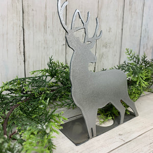 Rustic Deer Shelf Sitter | Metal Christmas Decor | CH10013