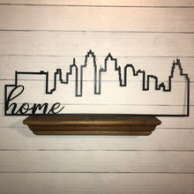 "Load image into Gallery viewer, Kansas City Skyline Outline with Farmhouse Script Word ""home"" 