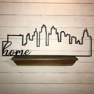 Kansas City Skyline Outline with Farmhouse Script Word