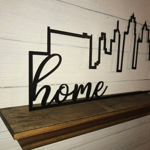"Kansas City Skyline Outline with Farmhouse Script Word ""home"" 