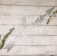 Load image into Gallery viewer, Welcome Arrow Metal Cutout | Metal Sign - HOD1034