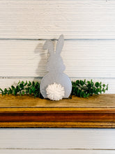Load image into Gallery viewer, Metal Bunny Shelf Sitter with Pom Pom Tail