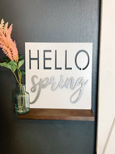 Load image into Gallery viewer, White Hello Spring Metal Cutout Sign
