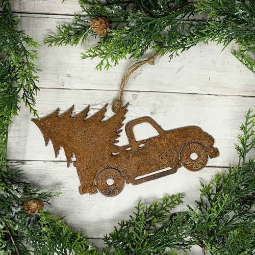 Rusty Vintage Truck with Tree Ornament | Metal Christmas Ornament - CHO1002