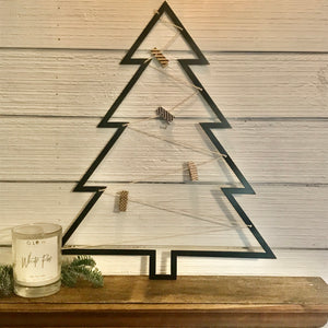Black Metal Card Holder Tree | Metal Christmas Decor- CH1006
