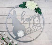 Load image into Gallery viewer, Happy Easter Metal Cutout Wreath with Flowers and Bunny