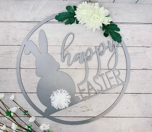 Happy Easter Metal Cutout Wreath with Flowers and Bunny