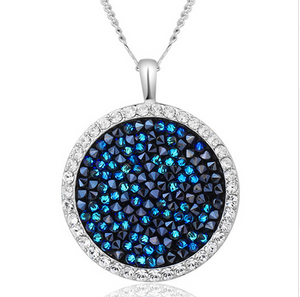 Women Necklace Crystals from Swarovski Beads Necklaces Round Jewelry Elegant Fashion Blue  Sexy Female-WN001 - Styleibuy Online Shop