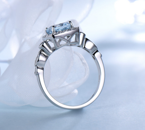 Real S925 Sterling Silver Rings for Women Blue Topaz Ring Gemstone Aquamarine Cushion  Romantic Gift Engagement Jewelry-WR002 - Styleibuy Online Shop