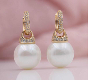 New Micro-wax Inlay Natural Zircon 585 Rose Gold Shell Pearls Multifunction Dangle Earrings Women Wedding Party Jewelry-WE012 - Styleibuy Online Shop