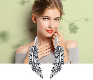 Fashion 925 Sterling Silver Vintage Feather Wings Long Drop Earrings for Women Sterling Silver Jewelry Brincos -WE013 - Styleibuy Online Shop