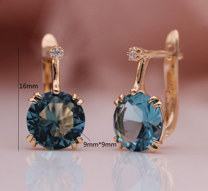828 Promotion New Round Blue Earrings Women Fashion Noble Wedding Jewelry 585 Rose Gold Natural Zircon Dangle Earrings-WE020 - Styleibuy Online Shop