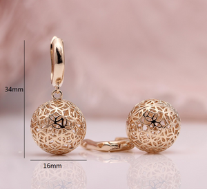 Styleibuy New Cute Earring Unique Carved Hollow 585 Rose Gold Long Dangle Earrings Women Fashion Wedding Party Fine Trendy Jewelry-WE010 - Styleibuy Online Shop