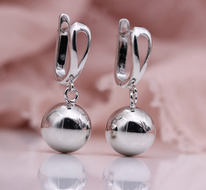 Styleibuy New White Gold Simple Fine Classic Earring Spherical Long Dangle Earrings Women Fashion Wedding Party Exquisite Jewelry-WE014 - Styleibuy Online Shop
