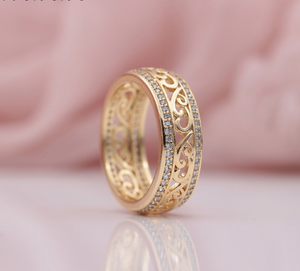 Styleibuy New Arrivals 585 Rose Gold Double Row Micro-wax Inlay Natural Zircon Hollow Rings Women Wedding Party Trendy Fine Jewelry-WR003 - Styleibuy Online Shop