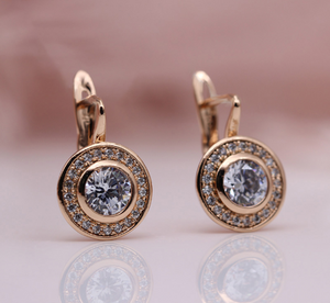 Sryleibuy New Arrivals 585 Rose Gold Love Carved Natural Zircon Big Dangle Earrings Women Hollow Wedding Party Fine Texture Jewelry-WE021 - Styleibuy Online Shop