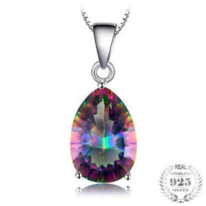 Genuine Multicolor Rainbow Fire Mystic Topaz Pendant Pear Pure 925 sterling Silver Brand New Without Chain-WN009 - Styleibuy Online Shop