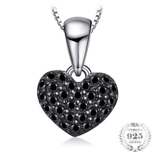 Styleibuy Fashion Natural Black Spinel Love Heart Pendants For Women Solid 925 Sterling Silver Pendant Jewelry Without Chain-WN013 - Styleibuy Online Shop