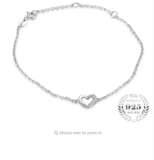 Styleibuy Heart Love Round Cubic Zirconia Link Chain Bracelet Real 925 Sterling Silver Fashion Jewelry For Women Party Gift-WB012 - Styleibuy Online Shop